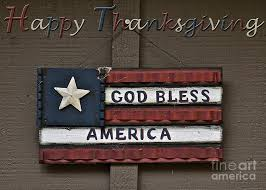 happy thanksgiving god bless america greeting card photograph by