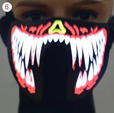 Led Light Halloween Costume Face Mask Led Light Flashing Halloween Party Costume Dance