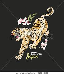 tiger flowers illustration patch embroidery stock vector 618040952