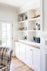 White Bookcases With Doors by Claybourne Project Living Room Coastal Style Studio Mcgee And