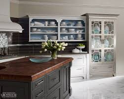 countertops dark butcher block countertop white glass cabinet
