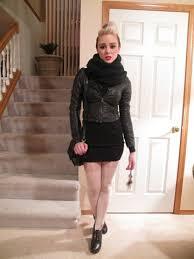 alysha nett scarf h m leather jacket sweater dress asos