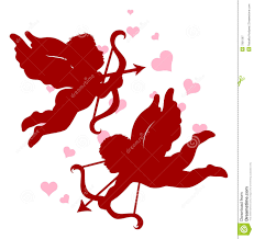 silhouettes of cupid for valentine u0027s day royalty free stock