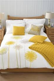 callium dandelion lemon yellow beige grey white duvet cover quilt