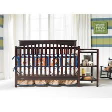 Convertible Cribs With Attached Changing Table Graco Woodbridge 4 In 1 Crib Changer Combo Espresso Walmart