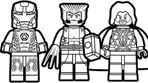 Lego Iron Man And Lego Wolverine Lego Thor Coloring Book Lego Coloring Pages