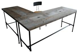 Industrial Table L Industrial Wood Desk Industrial Reclaimed Wood Conference Table