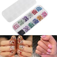 mix 2mm circle beads nail art tips rhinestones glitters acrylic uv