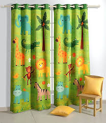 Drapery Panels With Grommets Amazon Com Safari Fun Blackout Door Curtains For Kids Rooms Set