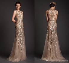 evening gown krikor jabotian evening dresses 2017 gold mermaid shape tulle