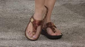 alegria leather thong sandals w adj strap carina on qvc youtube