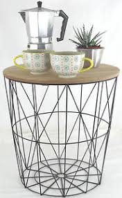 Wire Side Table Retro Side Table Loft Style Metal Wire Basket Industrial Wooden