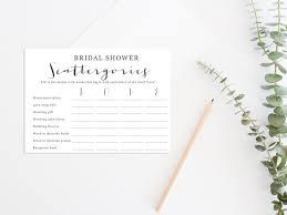 bridal shower scattergories wedding scattergories printable