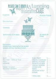 wedding cake order form cake order contract not a planned menu before taking