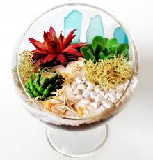 standing glass terrarium with sea glass and succul paint nite event