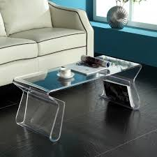 lucite waterfall coffee table modern clear acrylic coffee table with bookshelf storage in living