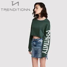 crop top sweater green positivity crop top sweater trenditionn