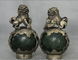 choo foo dogs china miao silver green jade foo dog guardion lion sphere