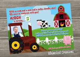 farm birthday invitation tractor birthday invitation digital