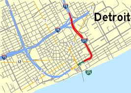 Detroit Metro Map by File Interstate 375 Michigan Map Svg Wikimedia Commons