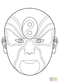 chinese opera mask 2 coloring page free printable coloring pages
