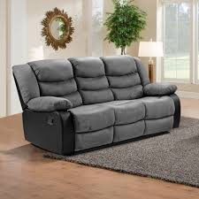 Living Room Furniture Belfast by Grey Faux Suede U0026 Black Leather Match Fabric Recliner Collection