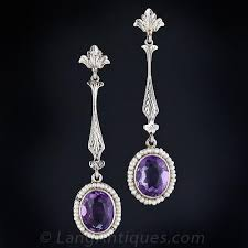 amethyst drop earrings antique amethyst drop earrings