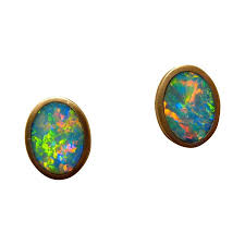 gold studs earrings orange oval opal stud earrings 14k yellow gold flashopal