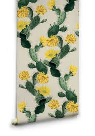 Home Wallpaper Decor by Cactus Wallpaper In Yellow Day From The Kingdom Home Collection By