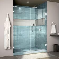 78 in x 60 in frameless hinged glass panel shower door in chrome