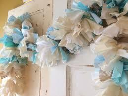 blue baby shower party decoration burlap shower garland