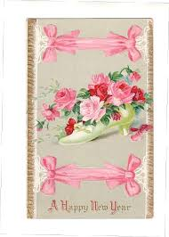 new year postcard greetings vintage happy new year postcard with roses and shoe pink pink