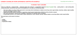 career counselor work experience certificate