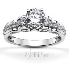 engagement rings diamond micro pave scroll diamond engagement ring 1 3 ct t w