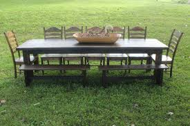 Outdoor Dining Room Farm Style Outdoor Dining Tables With Charming Walnut Chair And