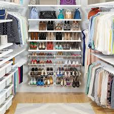 white elfa décor walk in clothes closet the container store