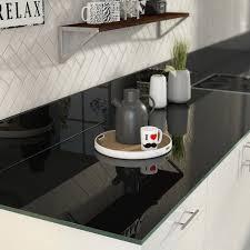 plan de travail de cuisine sur mesure plan de travail sur mesure verre laqué noir ep 15 mm leroy merlin