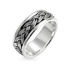 band ring men sterling silver braided band ring