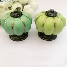 online shop 3x kitchen cabinet drawer knobs rustic pumpkin ceramic