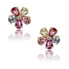 flower earrings bulgari sapphire and diamond flower stud earrings