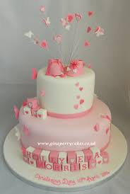 christening cake for a baby withbutterflies hearts u0026 pink