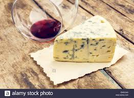 Blue Table Menu Blue Cheese With Overturned Glass Of Wine On Wooden Table
