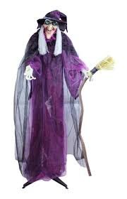 66 touch activated lighted standing witch u0026 broomstick animated