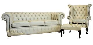 3 Seater Cream Leather Sofa Chesterfield Cream Leather Sofa Offer 3 1 Footstool Leather