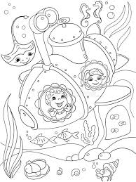 children exploring underwater submarine coloring