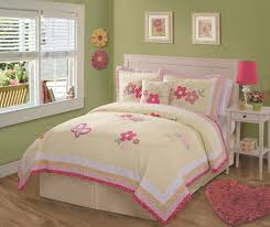 Teen Floral Bedding Bedroom White Wooden Bed With Headboars Using Yellow And Pink