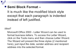 Semi Block Letter Format Business Letter Business Communication Chap 2 Business Writing