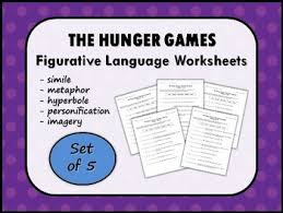 the hunger games by suzanne collins figurative language worksheets