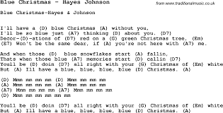 song blue christmas by hayes johnson song lyric for vocal