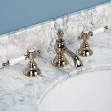Polished Brass Bathroom Faucets Widespread Low Level Widespread Bathroom Faucet Porcelain Lever Handles